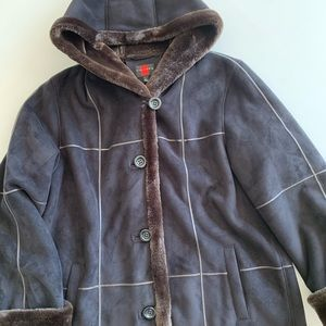 Gallery faux suede & fur coat size large